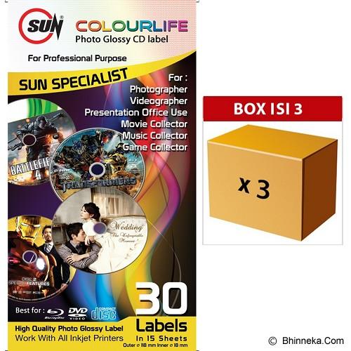 SUN Kertas Colourlife Photo Glossy CD Label 3pcs - Kertas Foto / Photo Paper