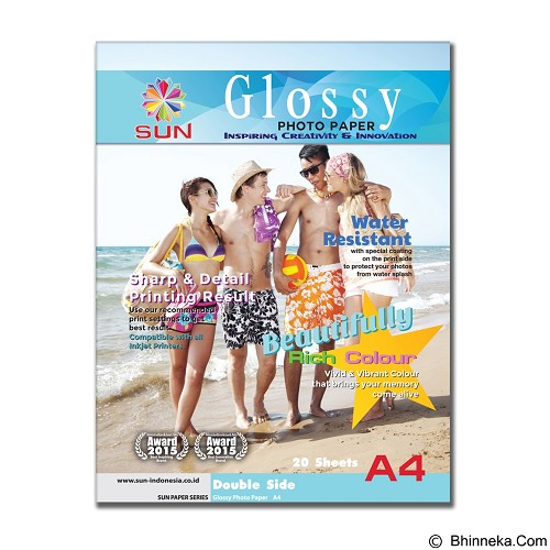 SUN Next Generation Glossy Photo Paper Double Side 210 Gsm A4 (Merchant) - Kertas Foto / Photo Paper