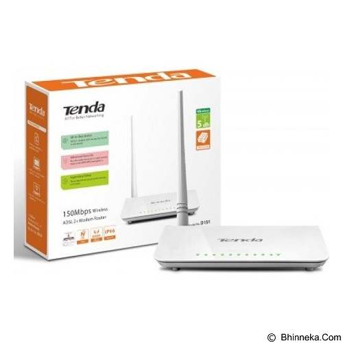 TENDA Wireless N150 ADSL2 + Modem Router [D151] (Merchant) - Router Consumer Wireless