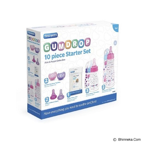 THE FIRST YEARS Paket Botol dan Dot Bayi Gumdrop Stater Set [Y4894 ] - Purple Pink - Botol Susu
