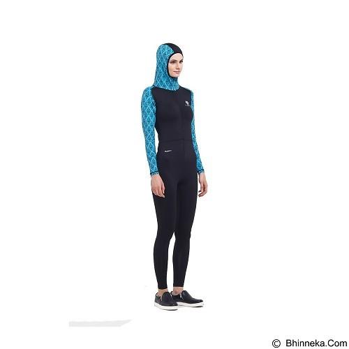 TIENTO Baju Renang Wanita Muslimah Ukuran M - Black Turquoise (Merchant) - Pakaian Renang Wanita