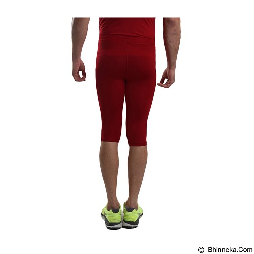 TIENTO Baselayer Manset Rash Guard Compression Half Pants Size M - Maroon White - Celana Olahraga Pria