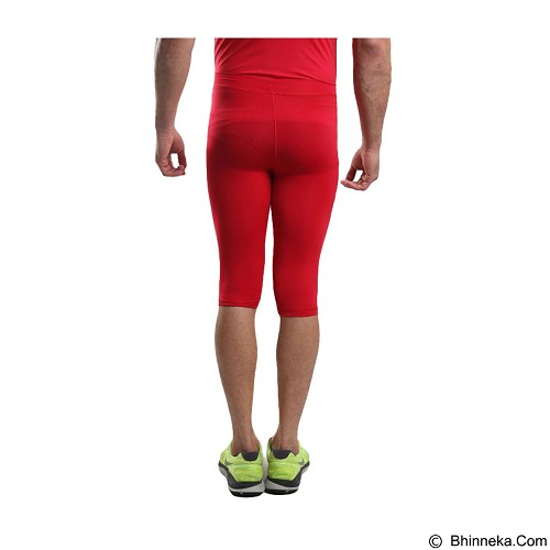TIENTO Baselayer Manset Rash Guard Compression Half Pants Size M - Red Silver - Celana Olahraga Pria