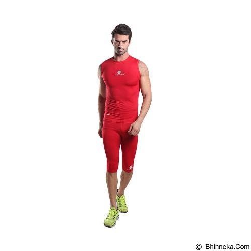 TIENTO Baselayer Manset Rash Guard Compression Half Pants Size M - Red Silver - Celana Olahraga Pria