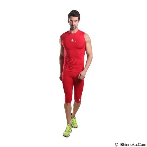 TIENTO Baselayer Manset Rash Guard Compression Half Pants Size M - Red White - Celana Olahraga Pria