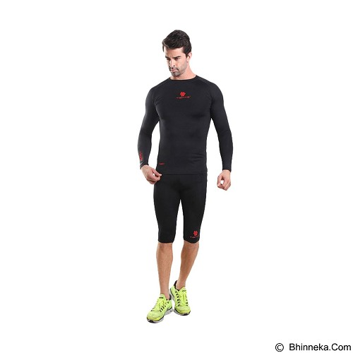 TIENTO Baselayer Manset Rash Guard Compression Half Pants Size S - Black Red - Celana Olahraga Pria