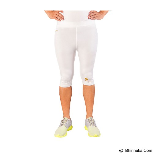 TIENTO Baselayer Manset Rash Guard Compression Half Pants Size S - White Gold - Celana Olahraga Pria