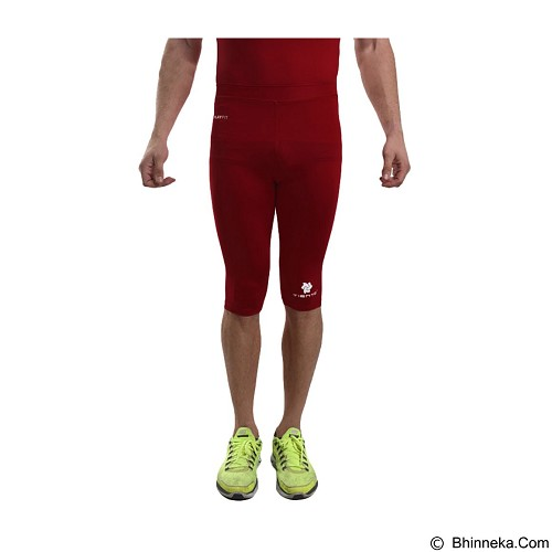 TIENTO Baselayer Manset Rash Guard Compression Half Pants Size XL - Maroon White - Celana Olahraga Pria