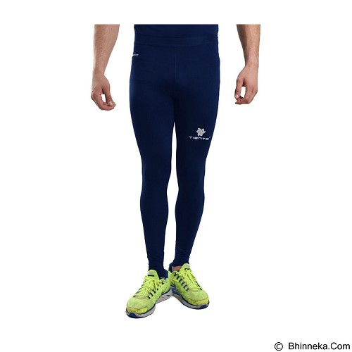 TIENTO Baselayer Manset Rash Guard Compression Long Pants Size L - Navy Silver - Celana Olahraga Pria