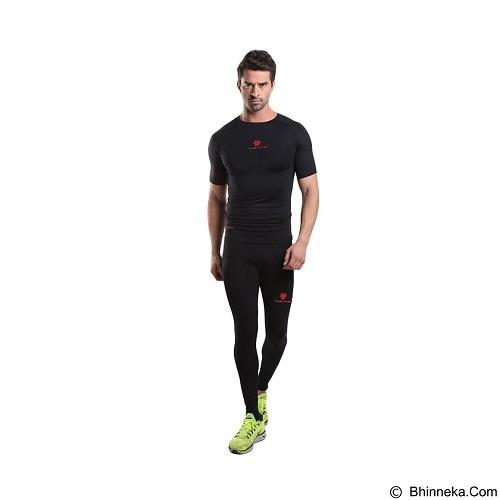 TIENTO Baselayer Manset Rash Guard Compression Long Pants Size M - Black Red - Celana Olahraga Pria