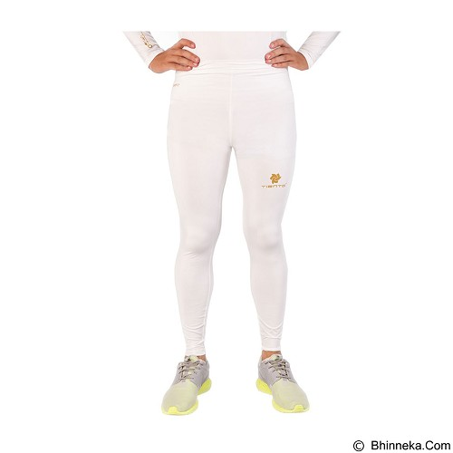 TIENTO Baselayer Manset Rash Guard Compression Long Pants Size M - White Gold - Celana Olahraga Pria