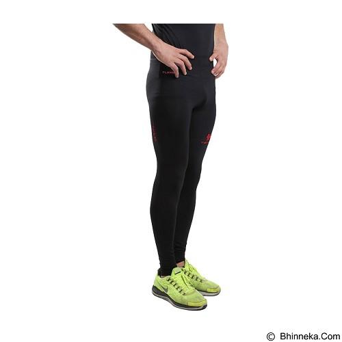TIENTO Baselayer Manset Rash Guard Compression Long Pants Size S - Black Red - Celana Olahraga Pria