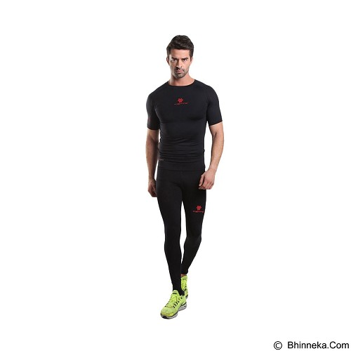 TIENTO Baselayer Manset Rash Guard Compression Long Pants Size S - Black Red - Celana Olahraga Pria