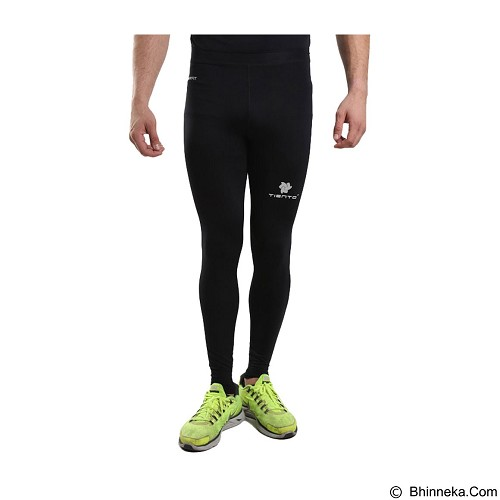 TIENTO Baselayer Manset Rash Guard Compression Long Pants Size XXL - Black Silver - Celana Olahraga Pria