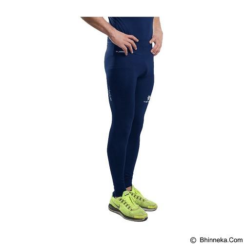 TIENTO Baselayer Manset Rash Guard Compression Long Pants Size XXL - Navy Silver - Celana Olahraga Pria
