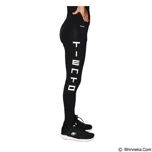 TIENTO Baselayer Manset Rash Guard Compression Long Pants Typotype Size L - Black White (Merchant) - Celana Olahraga Pria