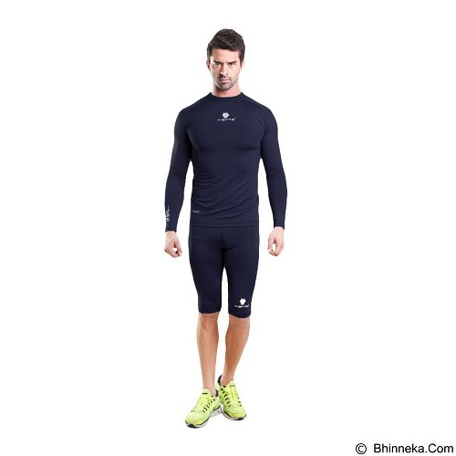 TIENTO TIENTO Baselayer Manset Rash Guard Compression Long Size M - Navy White - Kaos Pria