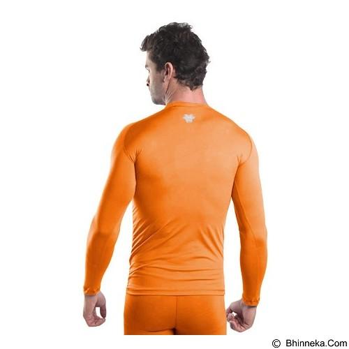 TIENTO Baselayer Manset Rash Guard Compression Long Size S - Orange Silver - Kaos Pria