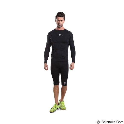 TIENTO Baselayer Manset Rash Guard Compression Long Sleeve Size L - Black Silver - Kaos Pria