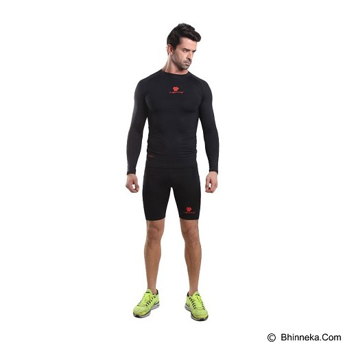 TIENTO Baselayer Manset Rash Guard Compression Long Sleeve Size M - Black Red - Kaos Pria