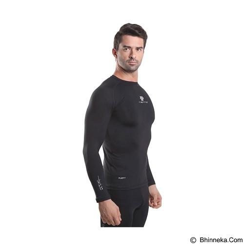 TIENTO Baselayer Manset Rash Guard Compression Long Sleeve Size M - Black Silver - Kaos Pria