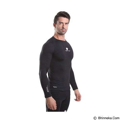 TIENTO Baselayer Manset Rash Guard Compression Long Sleeve Size M - Black White - Kaos Pria