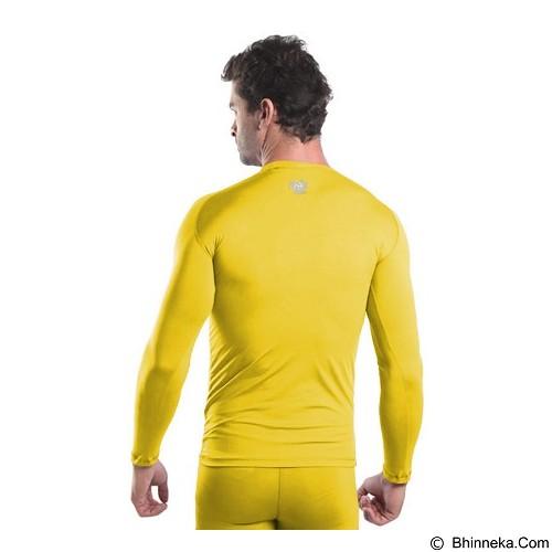 TIENTO Baselayer Manset Rash Guard Compression Long Sleeve Size M - Yellow Silver - Kaos Pria