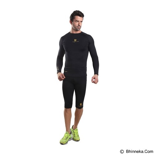 TIENTO Baselayer Manset Rash Guard Compression Long Sleeve Size S - Black Gold - Kaos Pria