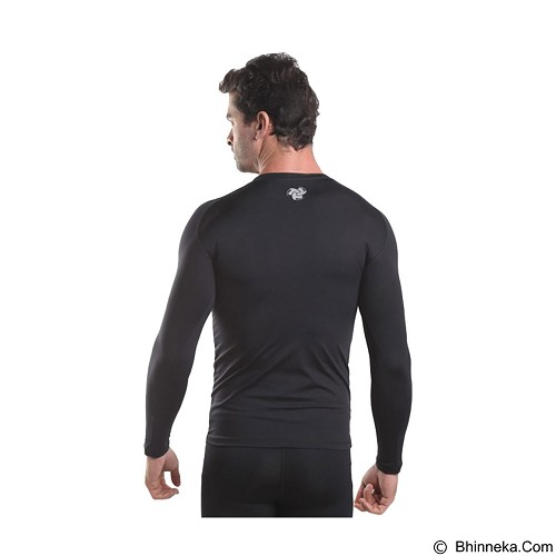 TIENTO Baselayer Manset Rash Guard Compression Long Sleeve Size S - Black Silver - Kaos Pria