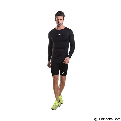 TIENTO Baselayer Manset Rash Guard Compression Long Sleeve Size S - Black White - Kaos Pria
