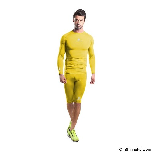 TIENTO Baselayer Manset Rash Guard Compression Long Sleeve Size S - Yellow Silver - Kaos Pria