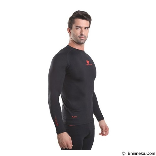 TIENTO Baselayer Manset Rash Guard Compression Long Sleeve Size XL - Black Red - Kaos Pria