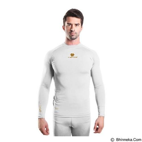 TIENTO Baselayer Manset Rash Guard Compression Long Sleeve Size XL - White Gold - Kaos Pria