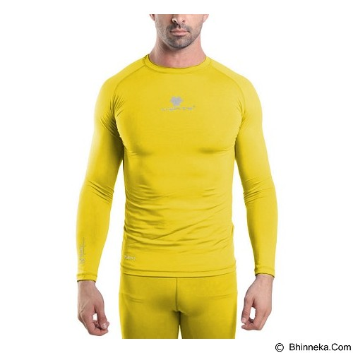 TIENTO Baselayer Manset Rash Guard Compression Long Sleeve Size XL - Yellow Silver - Kaos Pria