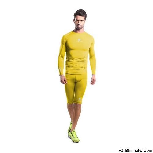 TIENTO Baselayer Manset Rash Guard Compression Long Sleeve Size XL - Yellow Silver - Kaos Pria