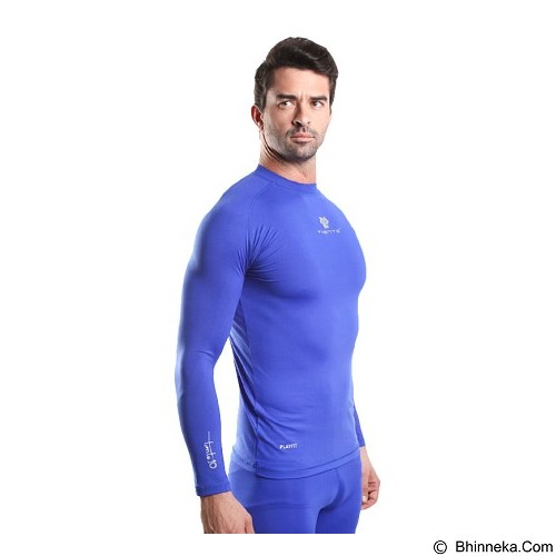 TIENTO Baselayer Manset Rash Guard Compression Long Sleeve Size XXL - Benhur Silver - Kaos Pria
