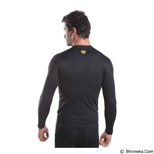 TIENTO Baselayer Manset Rash Guard Compression Long Sleeve Size XXL - Black Gold - Kaos Pria