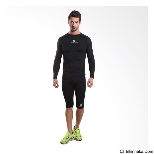 TIENTO Baselayer Manset Rash Guard Compression Long Sleeve Size XXL - Black Silver - Kaos Pria