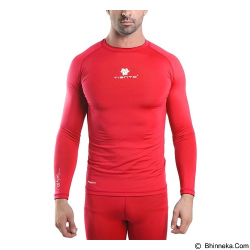 TIENTO Baselayer Manset Rash Guard Compression Long Sleeve Size XXL - Red White - Kaos Pria