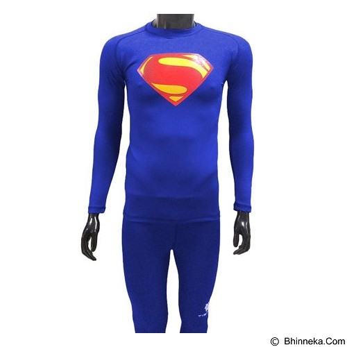 TIENTO Baselayer Manset Rash Guard Compression Long Sleeve Superman Size S - Benhur - Kaos Pria