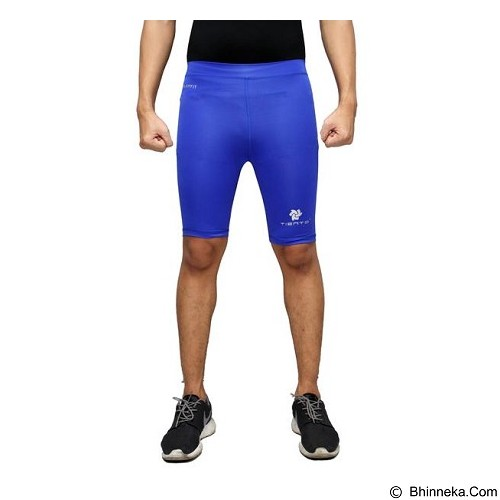 TIENTO Baselayer Manset Rash Guard Compression Short Pants Size S - Blue White - Celana Olahraga Pria