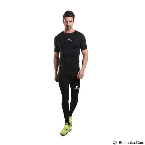 TIENTO Baselayer Manset Rash Guard Compression Short Sleeve Size L - Black White - Kaos Pria