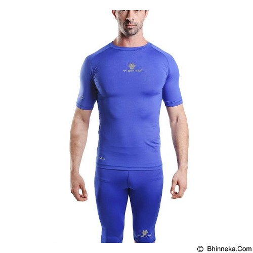 TIENTO Baselayer Manset Rash Guard Compression Short Sleeve Size L - Blue Silver - Kaos Pria