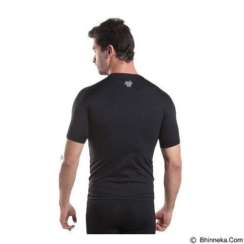 TIENTO Baselayer Manset Rash Guard Compression Short Sleeve Size M - Black Silver - Kaos Pria