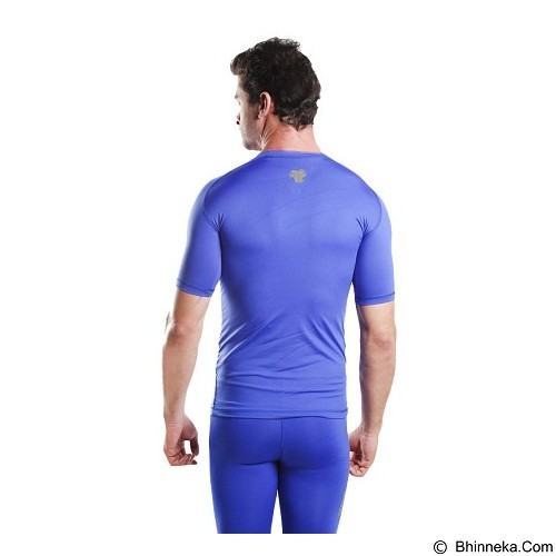 TIENTO Baselayer Manset Rash Guard Compression Short Sleeve Size M - Blue Silver - Kaos Pria