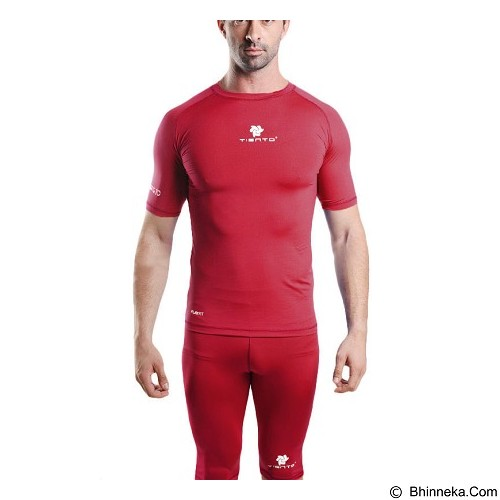 TIENTO Baselayer Manset Rash Guard Compression Short Sleeve Size M - Maroon White - Kaos Pria