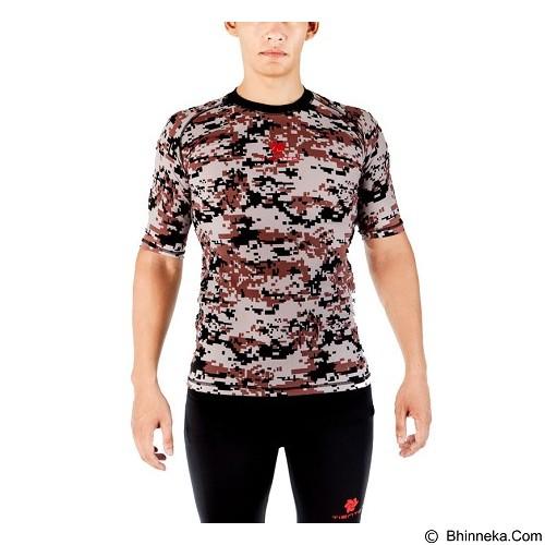 TIENTO Baselayer Manset Rash Guard Compression Short Sleeve Size S - Army Brown - Kaos Pria