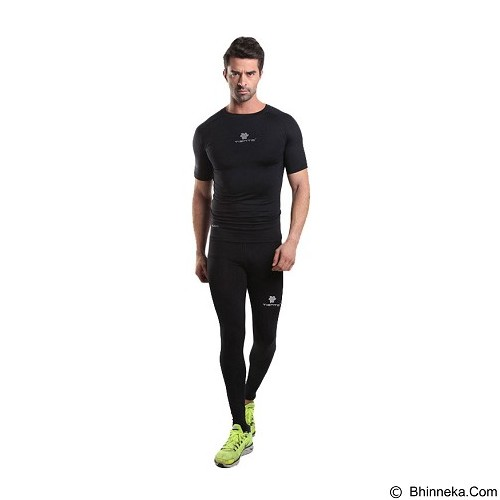 TIENTO Baselayer Manset Rash Guard Compression Short Sleeve Size S - Black Silver - Kaos Pria