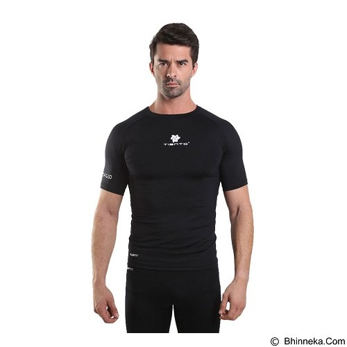 TIENTO Baselayer Manset Rash Guard Compression Short Sleeve Size S - Black White - Kaos Pria