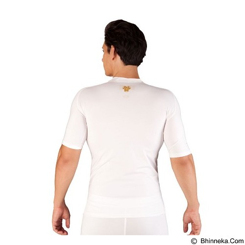 TIENTO Baselayer Manset Rash Guard Compression Short Sleeve Size S - White Gold - Kaos Pria